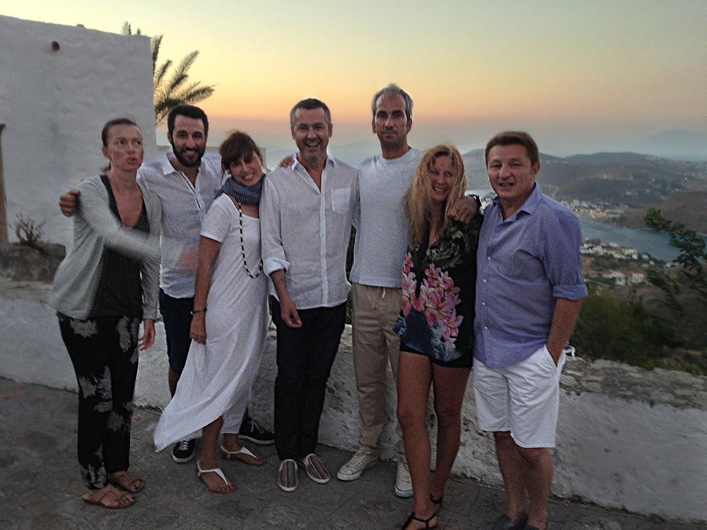 patmos greece friends sunset
